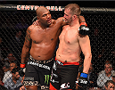MONTREAL, QC - APRIL 25:   (L-R) Quinton 'Rampage' Jackson of the United States and Fabio Maldonado of Brazil hug after their catchweight bout during the UFC 186 event at the Bell Centre on April 25, 2015 in Montreal, Quebec, Canada. (Photo by Josh Hedges/Zuffa LLC/Zuffa LLC via Getty Images)
