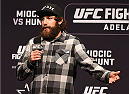 ADELAIDE, AUSTRALIA - MAY 09:   Michael Chiesa answers questions during the Q&A before the UFC weigh-in event at the Adelaide Entertainment Centre on May 9, 2015 in Adelaide, Australia. (Photo by Josh Hedges/Zuffa LLC/Zuffa LLC via Getty Images)