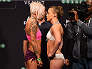 ADELAIDE, AUSTRALIA - MAY 09:   (L-R) Opponents Bec Rawlings of Australia and Lisa Ellis of the United States face off during the UFC weigh-in event at the Adelaide Entertainment Centre on May 9, 2015 in Adelaide, Australia. (Photo by Josh Hedges/Zuffa LLC/Zuffa LLC via Getty Images)
