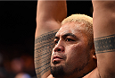 ADELAIDE, AUSTRALIA - MAY 10:   Mark Hunt  prepares to enter the Octagon before facing Stipe Miocic in their heavyweight bout during the UFC Fight Night event at the Adelaide Entertainment Centre on May 10, 2015 in Adelaide, Australia. (Photo by Josh Hedges/Zuffa LLC/Zuffa LLC via Getty Images)
