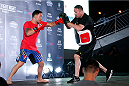 PASAY, PHILIPPINES - MAY 13: Fankie Edgar holds an open training session for fans and media at the Music Hall inside the Mall of Asia on May 13, 2015 in Pasay, Philippines. (Photo by Mitch Viquez/Zuffa LLC/Zuffa LLC via Getty Images)