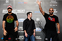 PARANAQUE, METRO MANILA, PHILIPPINES - MAY 14: (L and R) Gegard Mousasi and Costas Philippou face-off during the UFC Ultimate Media Day at the Solaire Resort and Casino on May 14, 2015 in Paranaque, Metro Manila, Philippines. (Photo by Mitch Viquez/Zuffa LLC/Zuffa LLC via Getty Images)