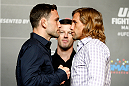 PARANAQUE, METRO MANILA, PHILIPPINES - MAY 14: (L and R) Frankie Edgar and Urijah Faber face-off during the UFC Ultimate Media Day at the Solaire Resort and Casino on May 14, 2015 in Paranaque, Metro Manila, Philippines. (Photo by Mitch Viquez/Zuffa LLC/Zuffa LLC via Getty Images)