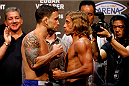 PASAY, METRO MANILA, PHILIPPINES - MAY 15: (L and R) Frankie Edgar and Urijah Faber face-off during the UFC weigh-in event at the Mall of Asia Arena on May 15, 2015 in Pasay, Metro Manila, Philippines. (Photo by Mitch Viquez/Zuffa LLC/Zuffa LLC via Getty Images)