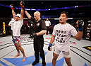 MANILA, PHILIPPINES - MAY 16: Phillipe Nover of the United States celebrates his win over Yui Chul Nam of South Korea in their featherweight fight during the UFC Fight Night event at the Mall of Asia Arena on May 16, 2015 in Manila, Philippines. (Photo by Mitch Viquez/Zuffa LLC/Zuffa LLC via Getty Images)