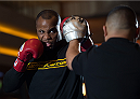 LAS VEGAS, NEVADA - MAY 20:   Daniel Cormier holds an open training session for fans and media at the MGM Grand Hotel/Casino on May 20, 2015 in Las Vegas Nevada. (Photo by Brandon Magnus/Zuffa LLC/Zuffa LLC via Getty Images)