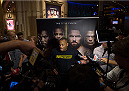 LAS VEGAS, NEVADA - MAY 20:   Daniel Cormier interacts with the media at the MGM Grand Hotel/Casino on May 20, 2015 in Las Vegas Nevada. (Photo by Brandon Magnus/Zuffa LLC/Zuffa LLC via Getty Images)