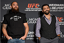 LAS VEGAS, NEVADA - MAY 21: (L-R) Travis Browne and Andrei Arlovski face-off during the UFC 187 Ultimate Media Day at the MGM Grand Hotel/Casino on May 21, 2015 in Las Vegas Nevada. (Photo by Brandon Magnus/Zuffa LLC/Zuffa LLC via Getty Images)