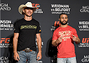 LAS VEGAS, NEVADA - MAY 21: (L-R) Donald Cerrone and John Makdessi face-off during the UFC 187 Ultimate Media Day at the MGM Grand Hotel/Casino on May 21, 2015 in Las Vegas Nevada. (Photo by Brandon Magnus/Zuffa LLC/Zuffa LLC via Getty Images)