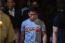 LAS VEGAS, NV - MAY 23:  Joseph Benavidez walks to the Octagon to face John Moraga in their flyweight bout during the UFC 187 event at the MGM Grand Garden Arena on May 23, 2015 in Las Vegas, Nevada.  (Photo by Josh Hedges/Zuffa LLC/Zuffa LLC via Getty Images)