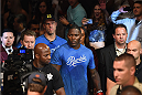 LAS VEGAS, NV - MAY 23:  Anthony 'Rumble' Johnson enters the arena before facing Daniel Cormier in their UFC light heavyweight championship bout during the UFC 187 event at the MGM Grand Garden Arena on May 23, 2015 in Las Vegas, Nevada.  (Photo by Josh Hedges/Zuffa LLC/Zuffa LLC via Getty Images)