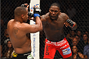 LAS VEGAS, NV - MAY 23:  (R-L) Anthony Johnson punches Daniel Cormier in their UFC light heavyweight championship bout during the UFC 187 event at the MGM Grand Garden Arena on May 23, 2015 in Las Vegas, Nevada.  (Photo by Josh Hedges/Zuffa LLC/Zuffa LLC via Getty Images)