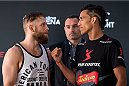 GOIANIA, BRAZIL - MAY 28: UFC Featherweight fighters Nik Lentz (L) of the United States and Charles Oliveira of Brazil face off during an open training session for media at Flex Alphaville Gym on May 28, 2015 in Goiania, Brazil. (Photo by Buda Mendes/Zuffa LLC/Zuffa LLC via Getty Images)