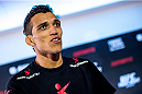 GOIANIA, BRAZIL - MAY 28: Featherweight Charles Oliveira of Brazil speaks during an open training session for media at Flex Alphaville Gym on May 28, 2015 in Goiania, Brazil. (Photo by Buda Mendes/Zuffa LLC/Zuffa LLC via Getty Images)