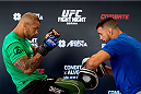 GOIANIA, BRAZIL - MAY 28: Welterweight Thiago Alves of Brazil holds an open training session for media at Flex Alphaville Gym on May 28, 2015 in Goiania, Brazil. (Photo by Buda Mendes/Zuffa LLC/Zuffa LLC via Getty Images)