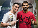 GOIANIA, BRAZIL - MAY 28:  Featherweight fighter Rony Jason (L) and Welterweight fighter Elizeu 'Capoeira' pose for a photo  during the Ultimate Media Day at the K Hotel on May 28, 2015 in Goiania, Brazil.(Photo by Buda Mendes/Zuffa LLC/Zuffa LLC via Getty Images)