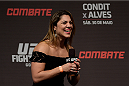 GOIANIA, BRAZIL - MAY 29:  Women's bantamweight belt Bethe Correia of Brazil interacts with fans during a Q&A session before the UFC Fight Night weigh-in at Goiania Arena on May 29, 2015 in Goiania, Brazil.  (Photo by Buda Mendes/Zuffa LLC/Zuffa LLC via Getty Images)