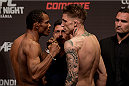 GOIANIA, BRAZIL - MAY 29: Lightweight fighters Francisco Massaranduba of Brazil (L) and Norman Parke of Northern Ireland face off during the UFC Fight Night Weigh-ins at Goiania Arena on May 29, 2015 in Goiania, Brazil. (Photo by Buda Mendes/Zuffa LLC/Zuffa LLC via Getty Images)