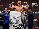 GOIANIA, BRAZIL - MAY 29:  Light heavyweight fighter Ryan Jimmo of the United States weighs in during the UFC Fight Night Weigh-ins at Goiania Arena on May 29, 2015 in Goiania, Brazil.  (Photo by Buda Mendes/Zuffa LLC/Zuffa LLC via Getty Images)
