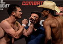 GOIANIA, BRAZIL - MAY 29: Welterweight fighter KJ Noons of the United States (L) and Alex Oliveira of Brazil face off during the UFC Fight Night Weigh-ins at Goiania Arena on May 29, 2015 in Goiania, Brazil. (Photo by Buda Mendes/Zuffa LLC/Zuffa LLC via Getty Images)