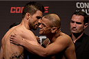 GOIANIA, BRAZIL - MAY 29:  Welterweight fighters Carlos Condit (L) of the United States and Thiago Alves of Brazil face off during the UFC Fight Night Weigh-ins at Goiania Arena on May 29, 2015 in Goiania, Brazil.  (Photo by Buda Mendes/Zuffa LLC/Zuffa LLC via Getty Images)