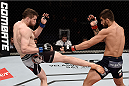 GOIANIA, BRAZIL - MAY 30:  Nicolas Dalby of Denmark kicks Elizeu Zaleski dos Santos of Brazil in their welterweight UFC bout during the UFC Fight Night Condit v Alves at Arena Goiania on May 30, 2015 in Goiania.  (Photo by Buda Mendes/Zuffa LLC/Zuffa LLC via Getty Images)