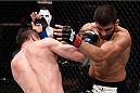 GOIANIA, BRAZIL - MAY 30:  Nicolas Dalby of Denmark punches Elizeu Zaleski dos Santos of Brazil in their welterweight UFC bout during the UFC Fight Night Condit v Alves at Arena Goiania on May 30, 2015 in Goiania.  (Photo by Buda Mendes/Zuffa LLC/Zuffa LLC via Getty Images)