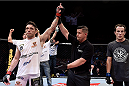 GOIANIA, BRAZIL - MAY 30:  Rony Jason of Brazil celebrates victory by submission over Damon Jackson of the United States in their UFC featherweight bout during the UFC Fight Night Condit v Alves at Arena Goiania on May 30, 2015 in Goiania.  (Photo by Buda Mendes/Zuffa LLC/Zuffa LLC via Getty Images)