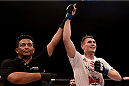 GOIANIA, BRAZIL - MAY 30:  Darren Till of England celebrates victory over Wendell Oliveira of Brazil in their welterweight UFC bout during the UFC Fight Night event at Arena Goiania on May 30, 2015 in Goiania.  (Photo by Buda Mendes/Zuffa LLC/Zuffa LLC via Getty Images)