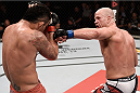 GOIANIA, BRAZIL - MAY 30:  Ryan Jimmo of Canada punches Francimar Barroso of Brazil in their light heavyweight UFC bout during the UFC Fight Night event at Arena Goiania on May 30, 2015 in Goiania.  (Photo by Buda Mendes/Zuffa LLC/Zuffa LLC via Getty Images)
