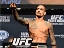 NEW ORLEANS, LA - JUNE 05:  Yancy Medeiros weighs in during the UFC weigh-in at the Smoothie King Center on June 5, 2015 in New Orleans, Louisiana. (Photo by Josh Hedges/Zuffa LLC/Zuffa LLC via Getty Images)