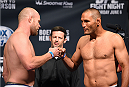 NEW ORLEANS, LA - JUNE 05:  (L-R) Opponents Tim Boetsch and Dan Henderson shake hands during the UFC weigh-in at the Smoothie King Center on June 5, 2015 in New Orleans, Louisiana. (Photo by Josh Hedges/Zuffa LLC/Zuffa LLC via Getty Images)