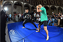 MEXICO CITY, MEXICO - JUNE 10:  Efrain Escudero of Mexico holds an open training session during the UFC 188 open workouts at the Interactive Museum of Economics on June 10, 2015 in Mexico City, Mexico. (Photo by Jeff Bottari/Zuffa LLC/Zuffa LLC via Getty Images)