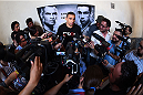 MEXICO CITY, MEXICO - JUNE 10:  UFC interim heavyweight champion Fabricio Werdum of Brazil interacts with the media during the UFC 188 open workouts at the Interactive Museum of Economics on June 10, 2015 in Mexico City, Mexico. (Photo by Jeff Bottari/Zuffa LLC/Zuffa LLC via Getty Images)