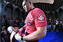MEXICO CITY, MEXICO - JUNE 10:  UFC heavyweight champion Cain Velasquez holds an open training session during the UFC 188 open workouts at the Interactive Museum of Economics on June 10, 2015 in Mexico City, Mexico. (Photo by Jeff Bottari/Zuffa LLC/Zuffa LLC via Getty Images)