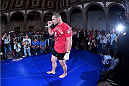 MEXICO CITY, MEXICO - JUNE 10:  UFC heavyweight champion Cain Velasquez interacts with the crowd during the UFC 188 open workouts at the Interactive Museum of Economics on June 10, 2015 in Mexico City, Mexico. (Photo by Jeff Bottari/Zuffa LLC/Zuffa LLC via Getty Images)