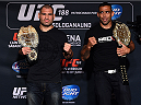MEXICO CITY, MEXICO - JUNE 11:  (L-R) UFC heavyweight champion Cain Velasquez and interim heavyweight champion Fabricio Werdum interact with the media during the UFC 188 Ultimate Media Day at the Hyatt Hotel on June 11, 2015 in Mexico City, Mexico. (Photo by Jeff Bottari/Zuffa LLC/Zuffa LLC via Getty Images)