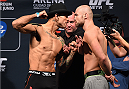 MEXICO CITY, MEXICO - JUNE 12:  (L-R) Augusto Montana of Mexico and Cathal Pendred of Ireland face off during the UFC 188 weigh-in inside the Arena Ciudad de Mexico on June 12, 2015 in Mexico City, Mexico. (Photo by Josh Hedges/Zuffa LLC/Zuffa LLC via Getty Images)