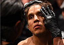 MEXICO CITY, MEXICO - JUNE 13:  Henry Cejudo of the United States prepares to enter the Octagon before facing Chico Camus of the United States in their flyweight bout during the UFC 188 event at the Arena Ciudad de Mexico on June 13, 2015 in Mexico City, Mexico. (Photo by Josh Hedges/Zuffa LLC/Zuffa LLC via Getty Images)