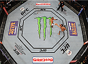 MEXICO CITY, MEXICO - JUNE 13:  An overhead view of the Octagon as Eddie Alvarez of the United States kicks Gilbert Melendez of the United States in their lightweight bout during the UFC 188 event at the Arena Ciudad de Mexico on June 13, 2015 in Mexico City, Mexico. (Photo by Josh Hedges/Zuffa LLC/Zuffa LLC via Getty Images)