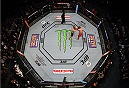 MEXICO CITY, MEXICO - JUNE 13:   An overhead view of the Octagon as Cain Velasquez of the United States punches Fabricio Werdum of Brazil in their UFC heavyweight championship bout during the UFC 188 event inside the Arena Ciudad de Mexico on June 13, 2015 in Mexico City, Mexico. (Photo by Josh Hedges/Zuffa LLC/Zuffa LLC via Getty Images)
