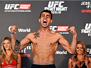 BERLIN, GERMANY - JUNE 19:   Makwan Amirkhani of Finland weighs in during the UFC Berlin weigh-in at the O2 World on June 19, 2015 in Berlin, Germany. (Photo by Josh Hedges/Zuffa LLC/Zuffa LLC via Getty Images)
