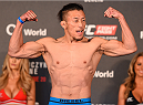 BERLIN, GERMANY - JUNE 19:   Tatsuya Kawajiri of Japan weighs in during the UFC Berlin weigh-in at the O2 World on June 19, 2015 in Berlin, Germany. (Photo by Josh Hedges/Zuffa LLC/Zuffa LLC via Getty Images)