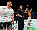 BERLIN, GERMANY - JUNE 20:  (R-L) Noad Lahat of Israel celebrates after defeating Niklas Backstrom of Sweden in their featherweight bout during the UFC Fight Night event at the O2 World on June 20, 2015 in Berlin, Germany. (Photo by Josh Hedges/Zuffa LLC/Zuffa LLC via Getty Images)