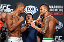 HOLLYWOOD, FL - JUNE 26:  (L-R) Thiago Santos of Brazil and Steve Bosse of Canada face-off during the UFC weigh-in at the Seminole Hard Rock Casino on June 26, 2015 in Hollywood, Florida. (Photo by Josh Hedges/Zuffa LLC/Zuffa LLC via Getty Images)