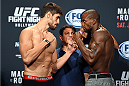HOLLYWOOD, FL - JUNE 26:  (L-R) Antonio Carlos Junior of Brazil and Eddie Gordon face-off during the UFC weigh-in at the Seminole Hard Rock Casino on June 26, 2015 in Hollywood, Florida. (Photo by Josh Hedges/Zuffa LLC/Zuffa LLC via Getty Images)