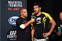 HOLLYWOOD, FL - JUNE 26:  UFC commentator Jon Anik interviews Lyoto Machida of Brazil during the UFC weigh-in at the Seminole Hard Rock Casino on June 26, 2015 in Hollywood, Florida. (Photo by Josh Hedges/Zuffa LLC/Zuffa LLC via Getty Images)