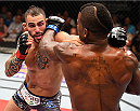 HOLLYWOOD, FL - JUNE 27:  (L-R) Santiago Ponzinibbio of Argentina punches Lorenz Larkin in their welterweight during the UFC Fight Night event at the Hard Rock Live on June 27, 2015 in Hollywood, Florida. (Photo by Josh Hedges/Zuffa LLC/Zuffa LLC via Getty Images)