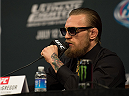 LAS VEGAS, NEVADA - JULY 9:  Conor McGregor speaks to the media during the UFC 189 & TUF Finale Press Conference at MGM Grand Hotel & Casino on July 9, 2015 in Las Vegas Nevada. (Photo by Brandon Magnus/Zuffa LLC/Zuffa LLC via Getty Images)