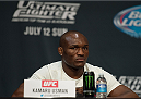 LAS VEGAS, NEVADA - JULY 9:  Kamaru Usman speaks to the media during the UFC 189 & TUF Finale Press Conference at MGM Grand Hotel & Casino on July 9, 2015 in Las Vegas Nevada. (Photo by Brandon Magnus/Zuffa LLC/Zuffa LLC via Getty Images)